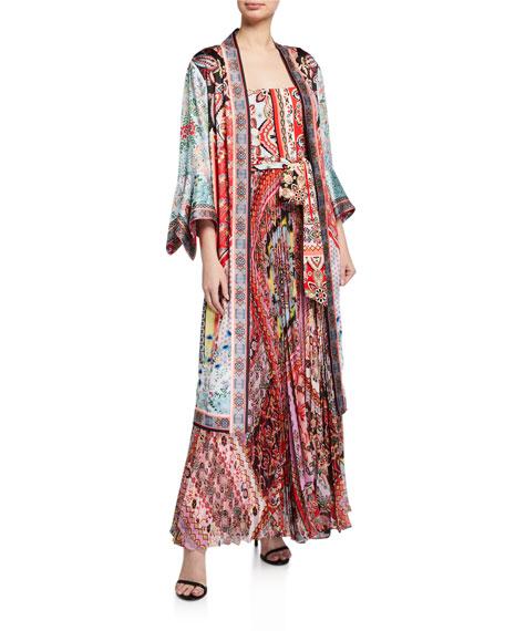 Alice + Olivia Lynn Reversible Side-Slit Long Kimono