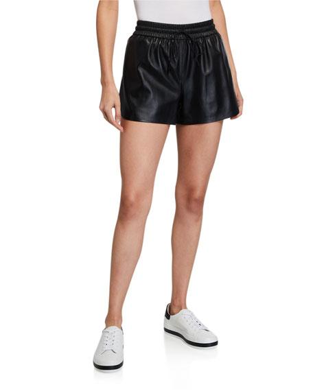 Alice + Olivia Ludlow Leather Smocked-Waistband Shorts