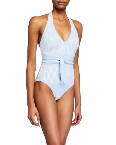 Semira Deep V Belted One-Piece Swimsuit