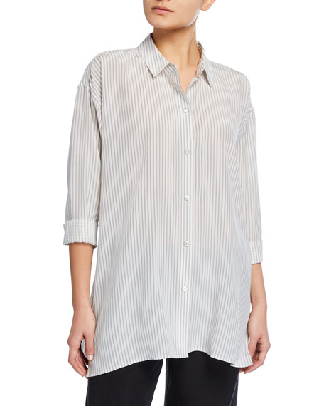 Eileen Fisher Striped Silk Crepe Collared Swing Top