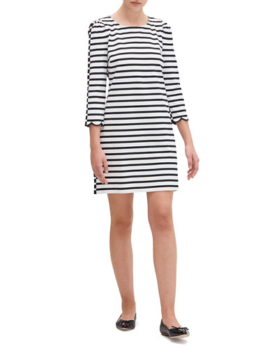 sailing stripe scallop dress