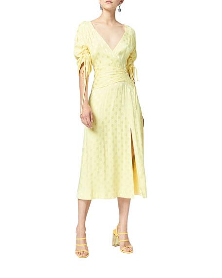 Three Floor Penelope Polka-Dot Gathered Midi Dress