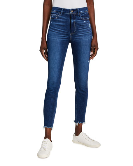PAIGE Margot Skinny Ankle Jeans w/ Distressed Hem