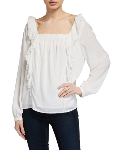 Brylen Square-Neck Eyelet Ruffle Top