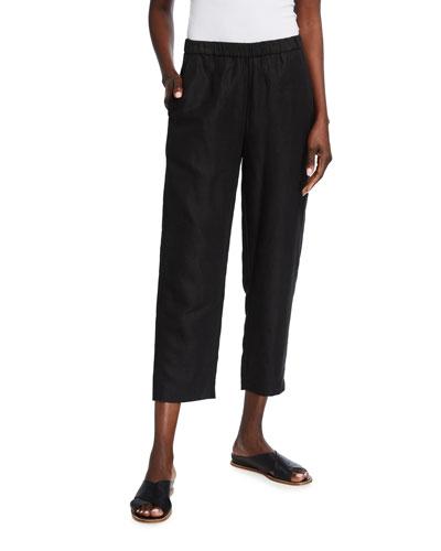Petite Lyocell-Organic Linen Easy Slub Cropped Pants