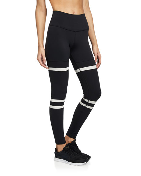 Alo Yoga Legit Striped High-Waist Active Leggings