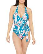 La Blanca Flyaway Surplice Belted One-Piece Swimsuit