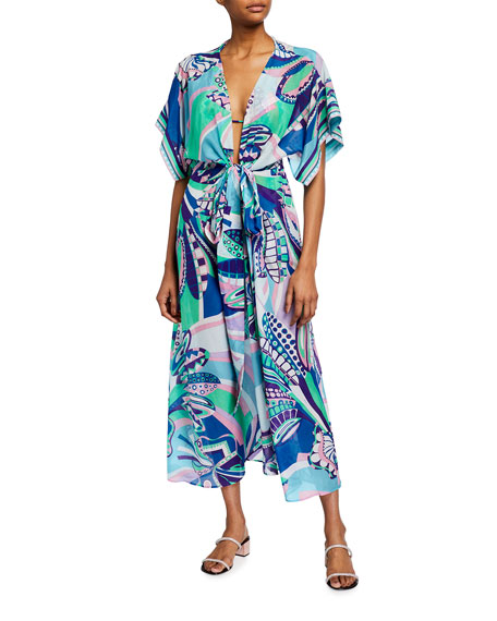 Emilio Pucci Printed Elbow-Sleeve Belted Maxi Dress