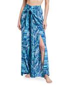 La Blanca Sketched Leaves Printed Tie-Front Coverup Pants