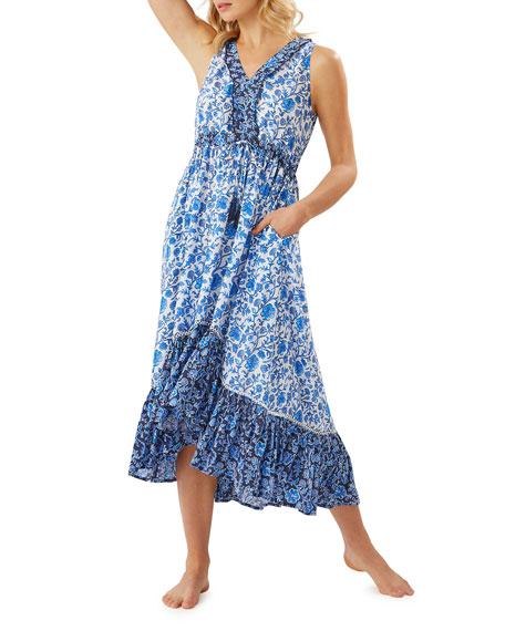 Tommy Bahama Woodblock Sleeveless Ruffle Dress