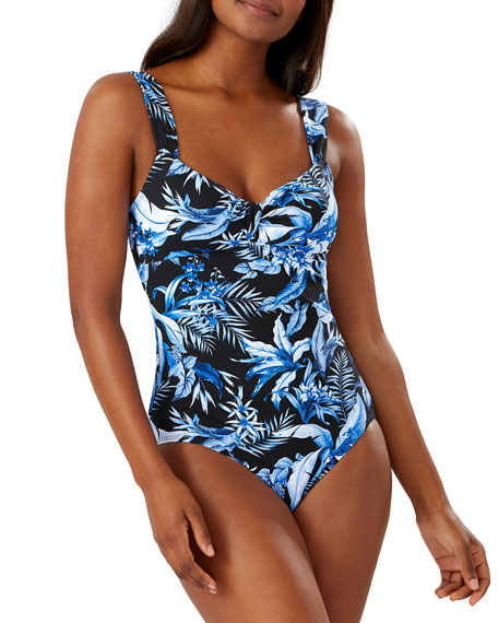 Tommy Bahama Indigo Garden Twisted Floral One-Piece Swimsuit