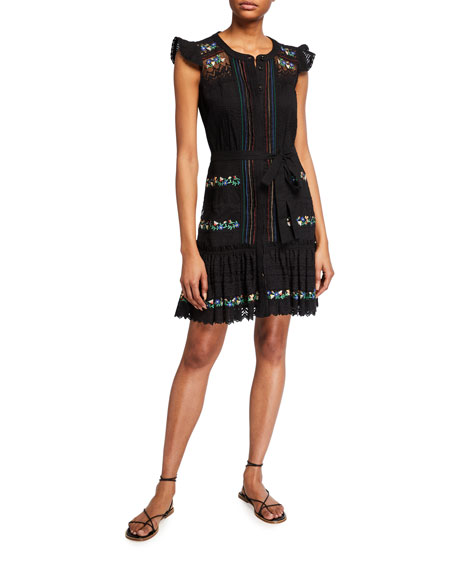 Saloni Bea Embroidered Button-Front Dress