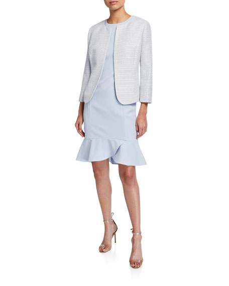 Albert Nipon Tweed Jacket with Solid Sheath Dress
