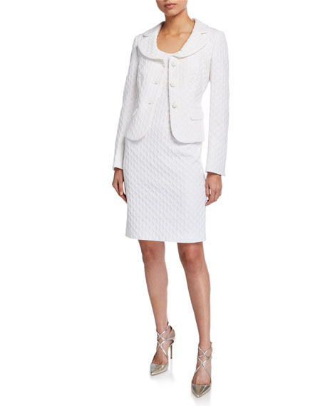 Albert Nipon Textured Three-Button Jacket with Matching Dress