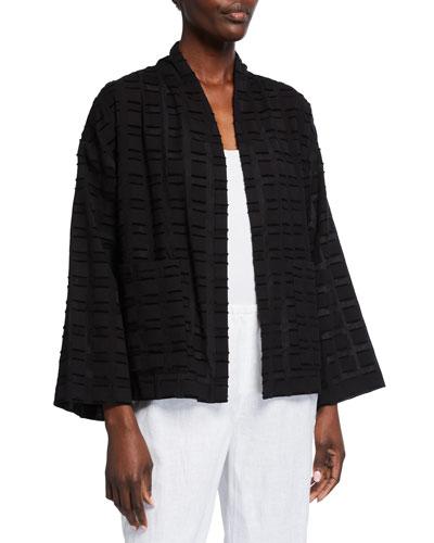 Plus Size Squares Organic Cotton High Collar Jacket
