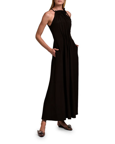 Gathered Halter-Neck Maxi Dress