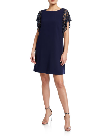 Aidan Mattox Crepe A-Line Cocktail Dress with Beaded Mesh Sleeves