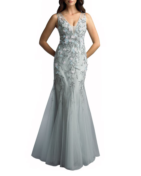 Basix 3-D Embellished Sleeveless Godet Sheath Gown