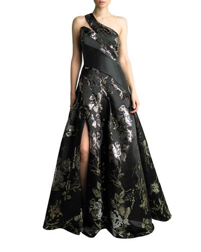 One-Shoulder Floral Jacquard Satin A-Line Gown