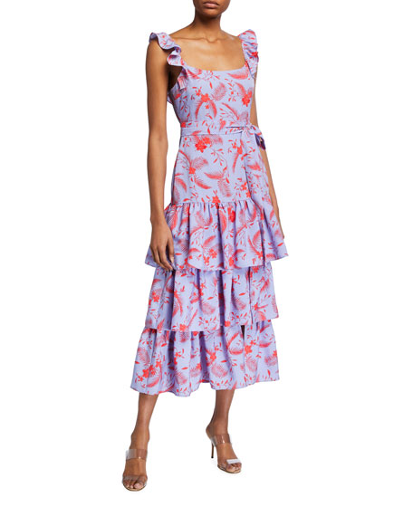Likely Charlotte Ruffled Midi Dress