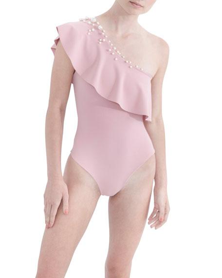 Badgley Mischka Swimwear Pearl One-Shoulder One-Piece Swimsuit