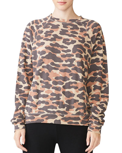 Animal Camo Slouchy Raglan Sweatshirt