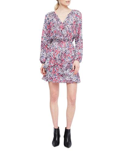 Bertie Full-Sleeve Floral Silk Dress