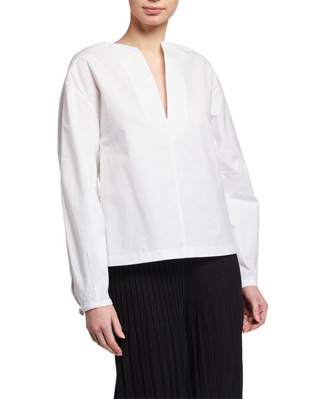 St. John Collection Luxe Cotton Poplin Deep V-Neck Shirt