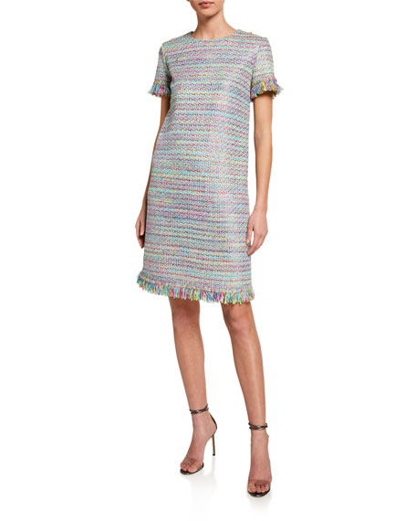 St. John Collection Party Confetti Knit Short-Sleeve Dress