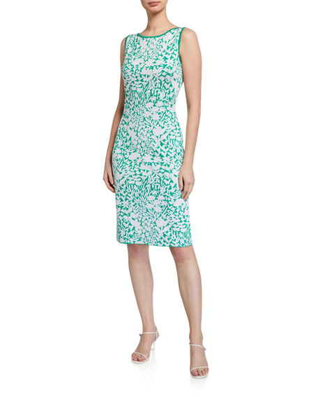 St. John Collection Two-Tone Floral Jacquard Dress