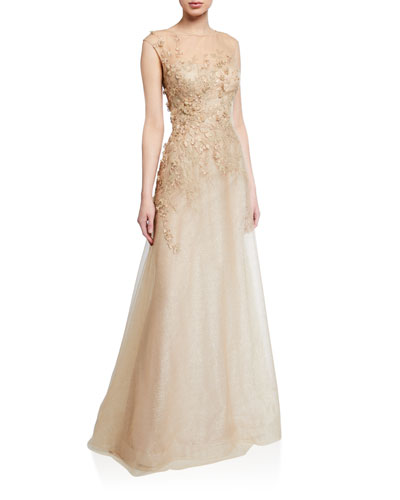 Embellished Bateau-Neck Cap-Sleeve A-Line Dress