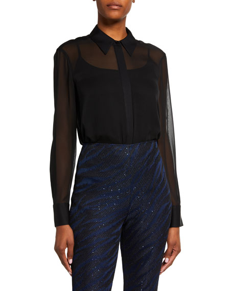 St. John Collection Luxe Silk Georgette Blouse