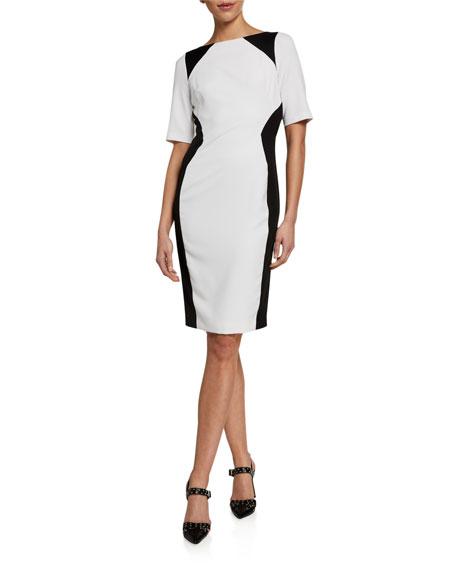 Black Halo Wolfe Colorblock Elbow-Sleeve Sheath Dress
