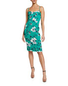 Black Halo Clover Floral-Print Spaghetti-Strap Sheath Dress