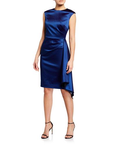 Cap-Sleeve Side-Draped Satin Sheath Dress
