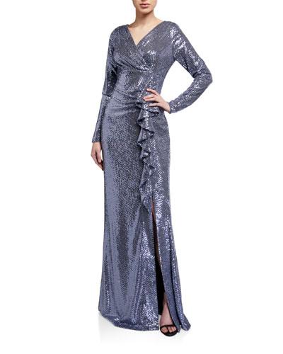 Metallic Sequin Jersey Side Drape Ruffle Gown