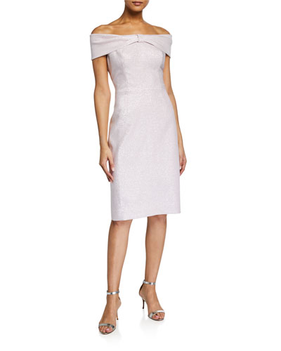 Off-the-Shoulder Bow-Front Stretch Metallic Sheath Dress