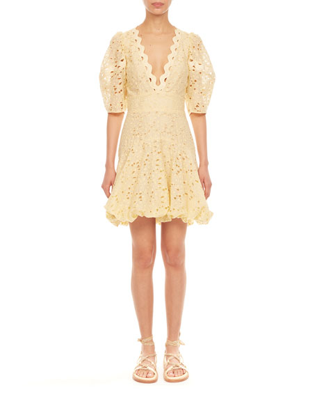 Rebecca Taylor Audrey Short-Sleeve Eyelet Dress
