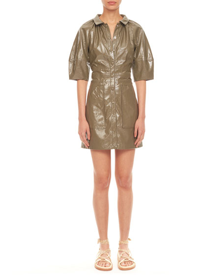 Rebecca Taylor Short-Sleeve Vegan Leather Dress