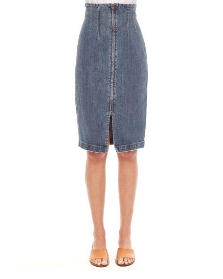 Rebecca Taylor Dry Indigo Denim Skirt