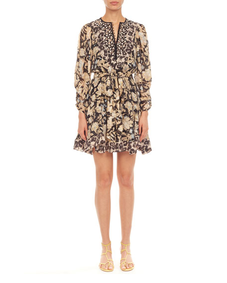 Rebecca Taylor Long-Sleeve Print Mix Dress