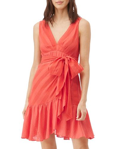 Sleeveless Striped Wrap Dress