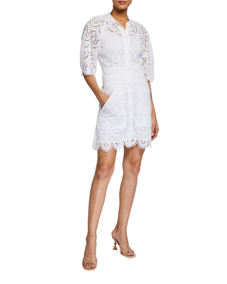 Rebecca Taylor Mina Short-Sleeve Eyelet Dress