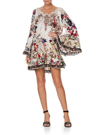 Camilla Printed A-Line Silk Frill Dress