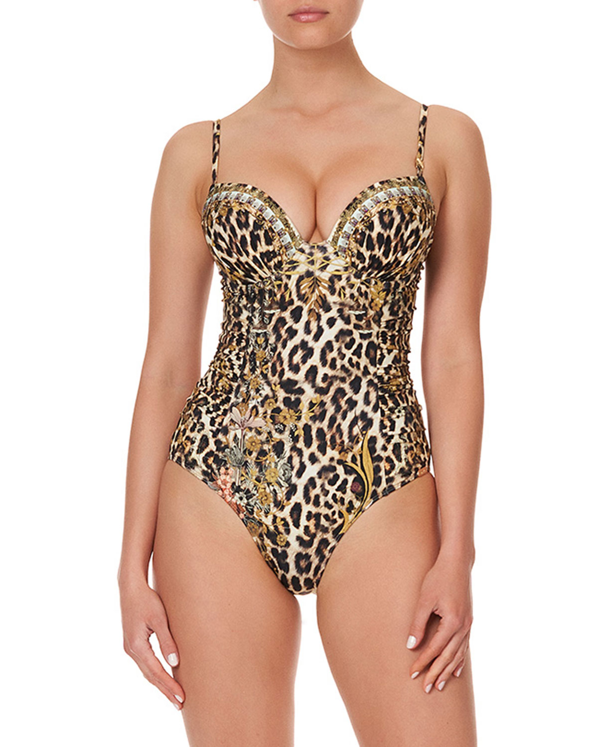Camilla MOLDED LEOPARD-PRINT RUCHED ONE-PIECE SWIMSUIT