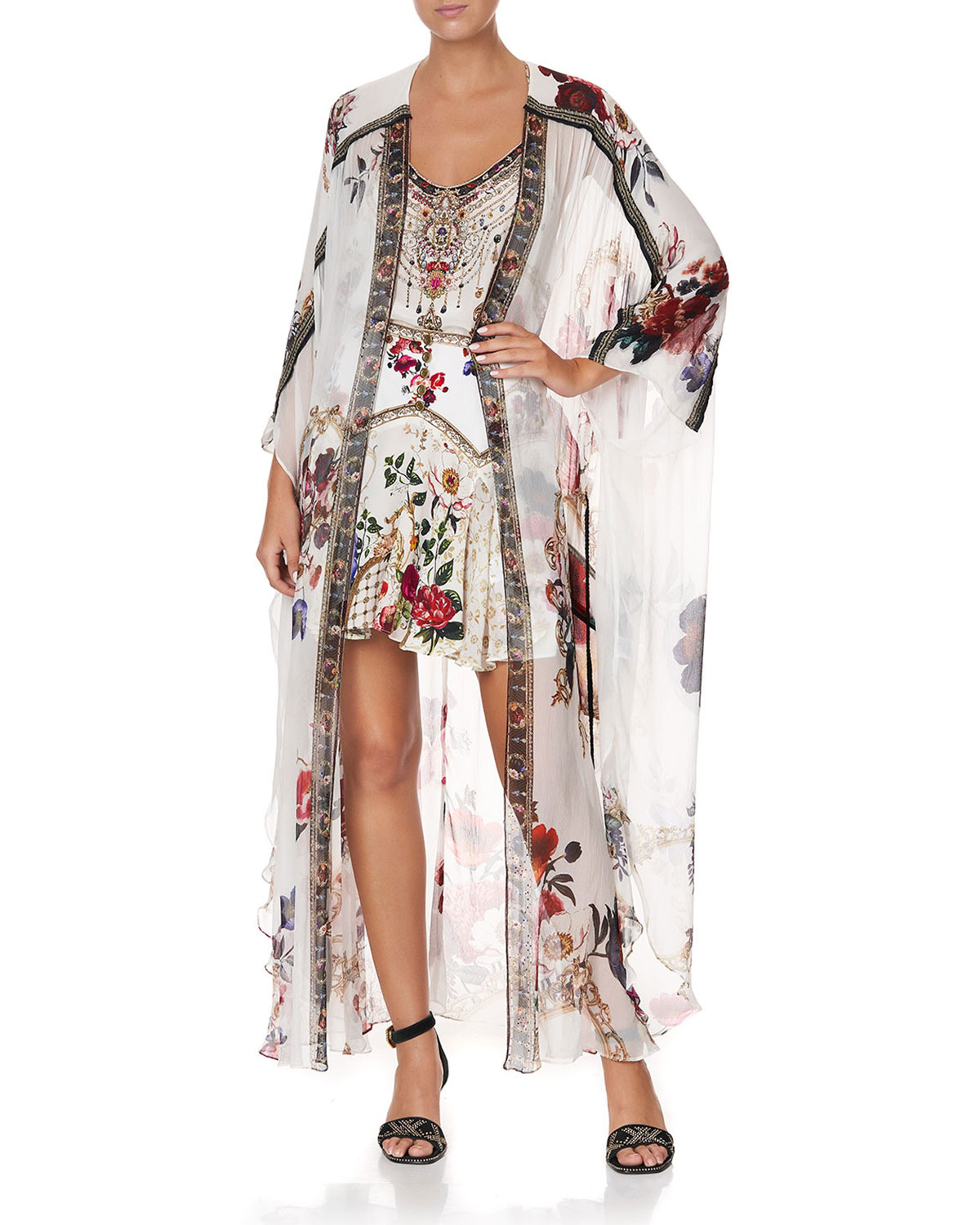 Camilla FLORAL PRINT LONG SILK COVERUP W/ GATHER DETAIL
