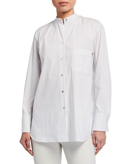 Vince Classic Stripe Band-Collar Shirt