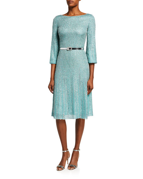 St. John Collection Tinsel Knit Fit & Flare Dress