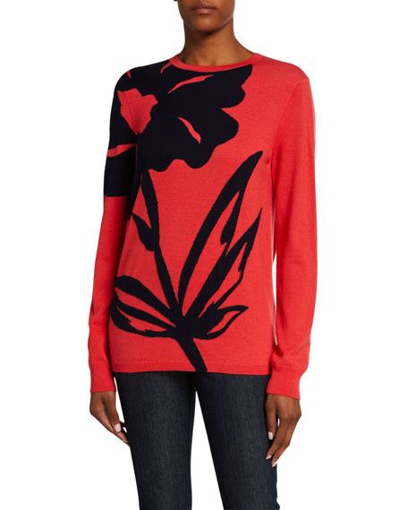 St. John Collection Oversized Floral Intarsia Knit Sweater