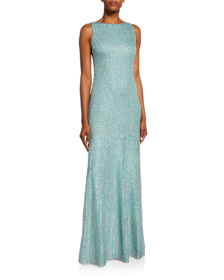 St. John Collection Tinsel Knit Column Gown